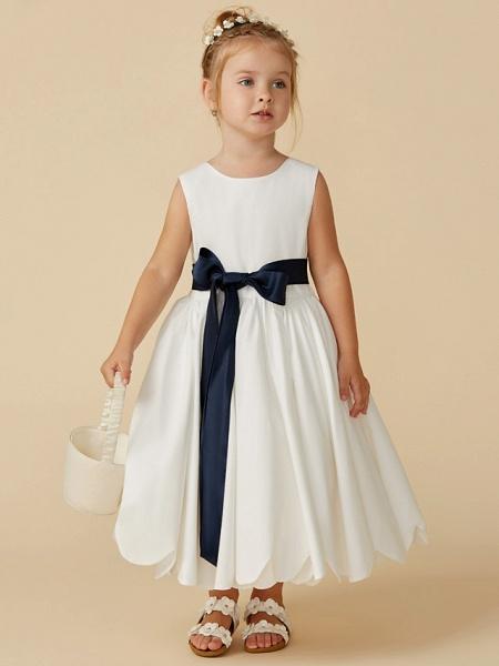A-Line Tea Length Wedding / First Communion Flower Girl Dresses - Taffeta Sleeveless Jewel Neck With Sash / Ribbon / Pleats_3
