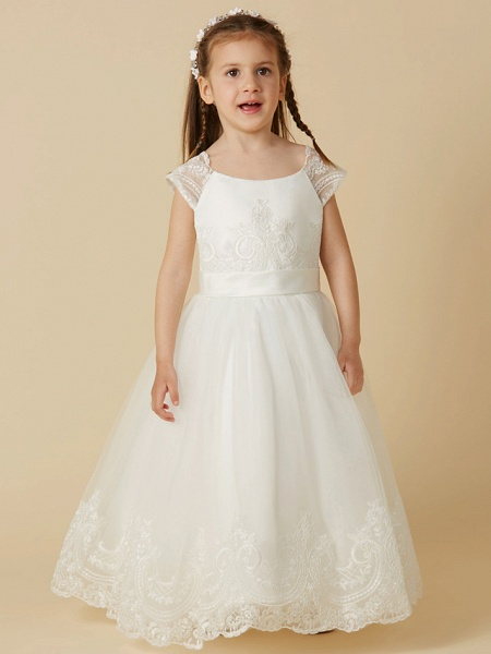 A-Line Floor Length Wedding / First Communion Flower Girl Dresses - Lace / Tulle Short Sleeve Scoop Neck With Sash / Ribbon / Buttons_1