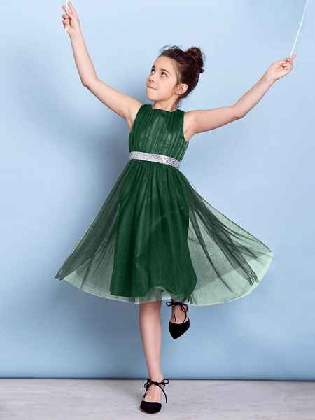 A-Line Jewel Neck Knee Length Tulle Junior Bridesmaid Dress With Sash / Ribbon / Sequin / Draping / Natural_34