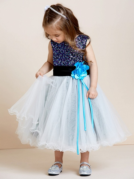 A-Line Tea Length Tulle / Sequined Sleeveless Jewel Neck With Sash / Ribbon / Sequin / Draping / Mini Me_5