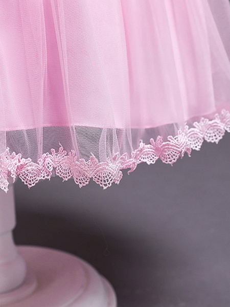 Princess Midi Wedding / First Communion / Birthday Flower Girl Dresses - Satin / Tulle Sleeveless Jewel Neck With Bow(S) / Embroidery / Paillette_14