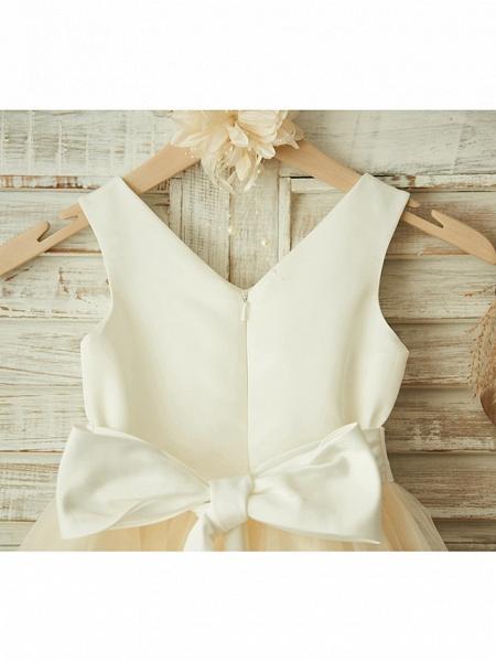 Ball Gown Knee Length Wedding / Birthday / Pageant Flower Girl Dresses - Satin / Tulle Sleeveless V Neck With Bows / Belt / Beading_4