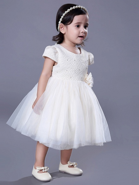 Ball Gown Royal Length Train / Medium Length Wedding / Event / Party Flower Girl Dresses - Lace Short Sleeve Jewel Neck With Belt / Beading / Flower_4