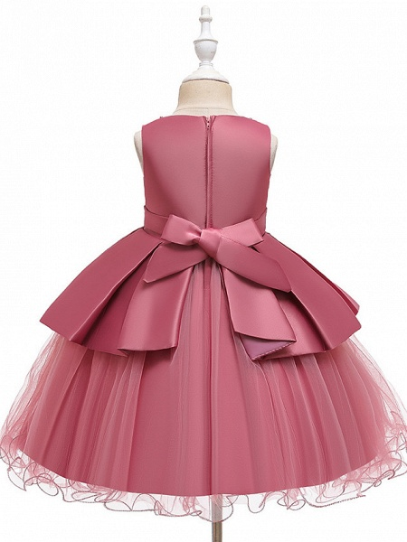 A-Line Knee Length Wedding / Party Communion Dresses - Tulle / Matte Satin / Poly&Cotton Blend Sleeveless Jewel Neck With Lace / Bow(S) / Beading_14