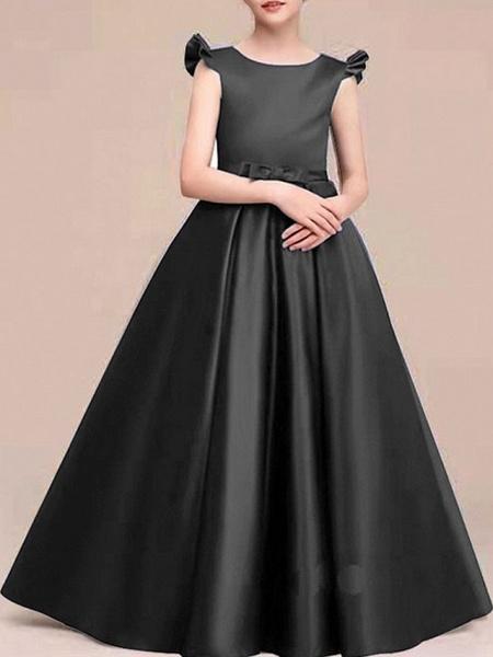 A-Line Round Neck Floor Length Satin Junior Bridesmaid Dress With Bow(S) / Ruffles_3