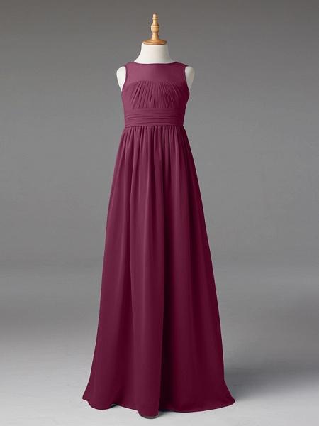 Princess / A-Line Jewel Neck Floor Length Chiffon Junior Bridesmaid Dress With Sash / Ribbon / Pleats_7