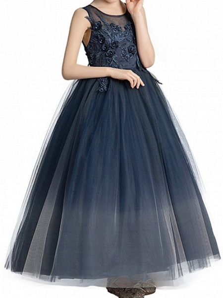 Ball Gown Floor Length Pageant Flower Girl Dresses - Polyester Sleeveless Jewel Neck With Appliques_5