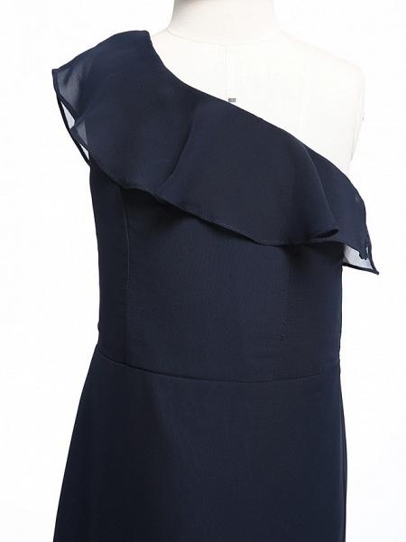 A-Line One Shoulder Floor Length Chiffon Junior Bridesmaid Dress With Ruffles / Natural_5