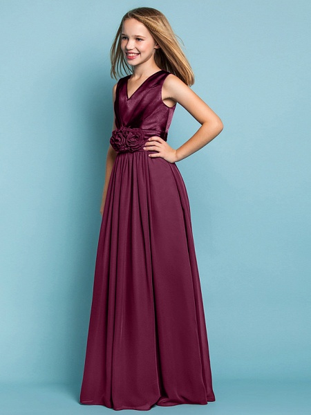 Sheath / Column V Neck Floor Length Chiffon Junior Bridesmaid Dress With Flower / Spring / Summer / Fall / Apple / Hourglass_10