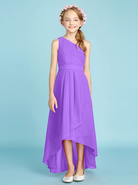 A-Line One Shoulder Asymmetrical Chiffon Junior Bridesmaid Dress With Sash / Ribbon / Bow(S) / Side Draping / Natural_33