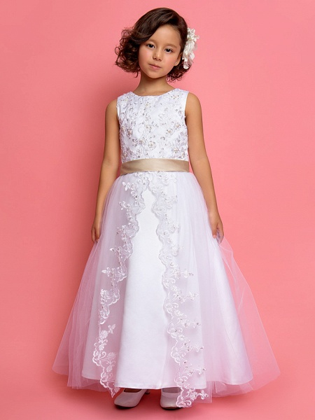 Princess / A-Line Ankle Length Wedding / First Communion Flower Girl Dresses - Satin / Tulle Sleeveless Jewel Neck With Lace / Pearls / Sequin_1