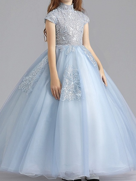 Ball Gown Floor Length Pageant Flower Girl Dresses - Polyester Short Sleeve High Neck With Ruching_2