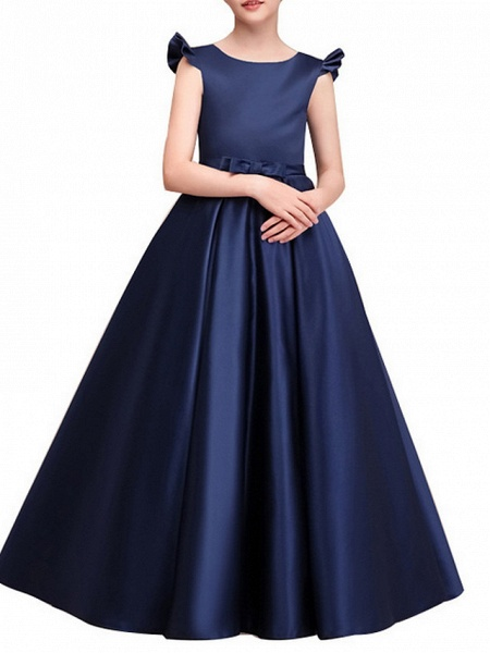 A-Line Floor Length Pageant Flower Girl Dresses - Polyester Cap Sleeve Jewel Neck With Ruching_4