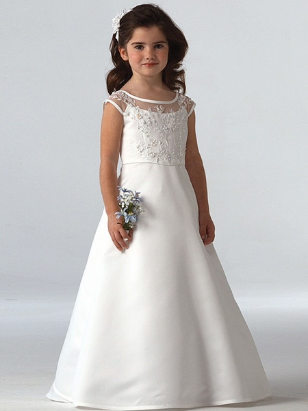 A-Line Floor Length Wedding / Party Flower Girl Dresses - Lace Sleeveless Jewel Neck With Beading_1