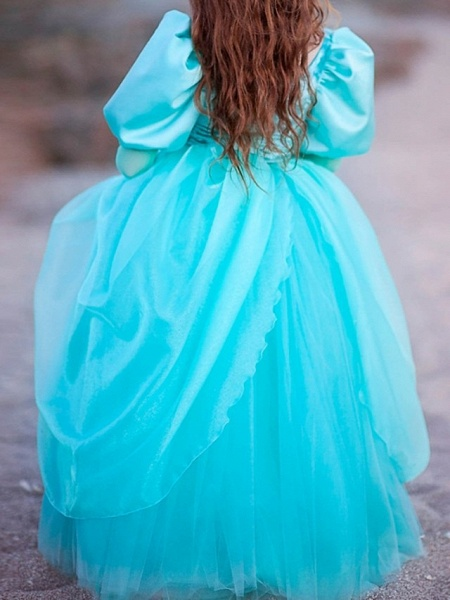 Ball Gown Floor Length Pageant Flower Girl Dresses - Polyester Long Sleeve Square Neck With Lace_6