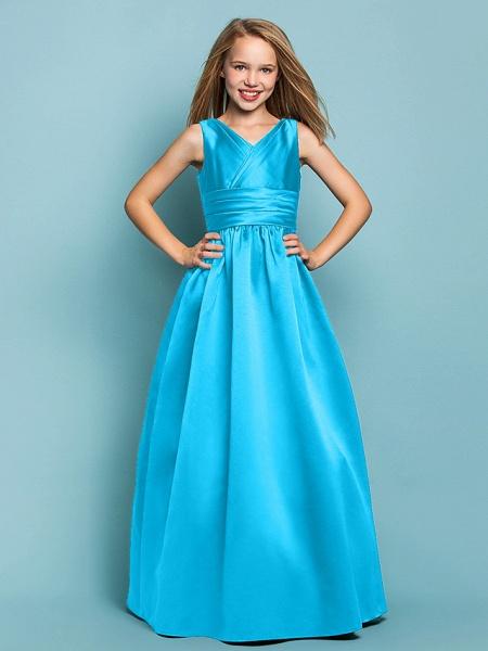 Princess / A-Line V Neck Floor Length Satin Junior Bridesmaid Dress With Sash / Ribbon / Criss Cross / Spring / Summer / Fall / Apple / Hourglass_31