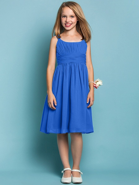 Sheath / Column Straps Knee Length Chiffon Junior Bridesmaid Dress With Ruched / Draping / Spring / Summer / Fall / Apple / Hourglass_32