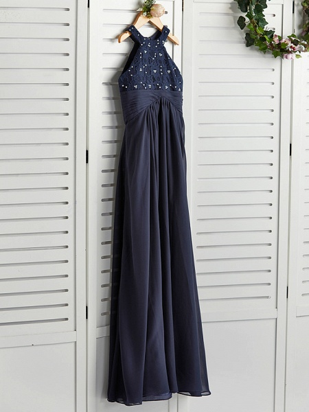 A-Line Jewel Neck Maxi Chiffon Junior Bridesmaid Dress With Pearls / Wedding Party_3