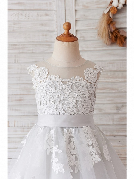 Ball Gown Knee Length Wedding / Birthday Flower Girl Dresses - Lace / Tulle Sleeveless Jewel Neck With Belt / Buttons_7
