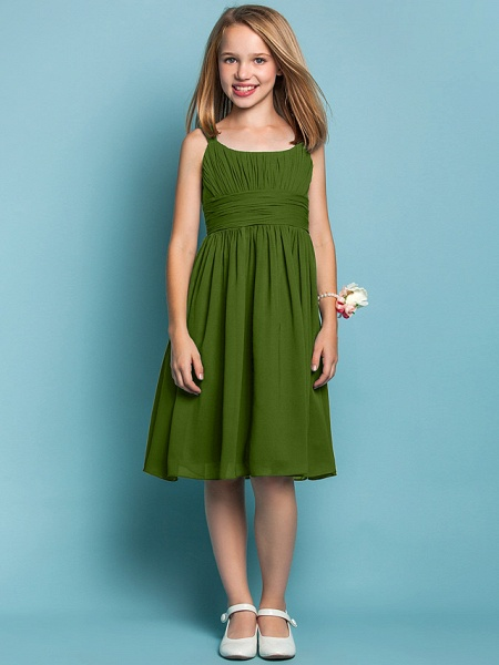 Sheath / Column Straps Knee Length Chiffon Junior Bridesmaid Dress With Ruched / Draping / Spring / Summer / Fall / Apple / Hourglass_39