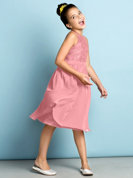 A-Line Jewel Neck Knee Length Chiffon / Lace Junior Bridesmaid Dress With Lace / Natural / Mini Me_22