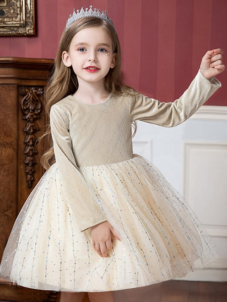 Princess / Ball Gown Knee Length Wedding / Party Flower Girl Dresses - Tulle / Velvet Long Sleeve Jewel Neck With Splicing / Paillette_3