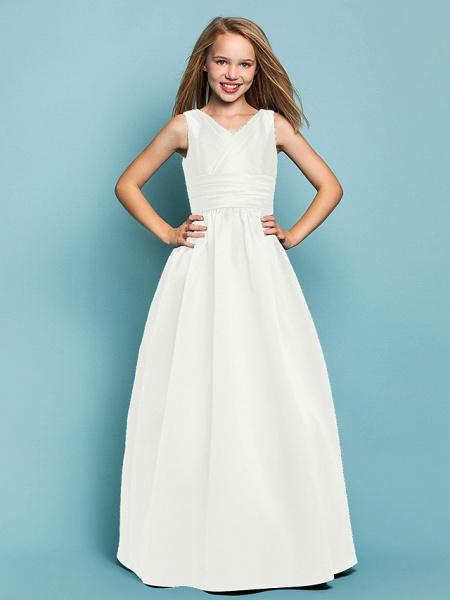 Princess / A-Line V Neck Floor Length Satin Junior Bridesmaid Dress With Sash / Ribbon / Criss Cross / Spring / Summer / Fall / Apple / Hourglass_19