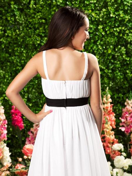 Sheath / Column Spaghetti Strap Sweep / Brush Train Chiffon Junior Bridesmaid Dress With Sash / Ribbon / Bow(S) / Draping / Empire / Spring / Summer / Fall / Apple_7