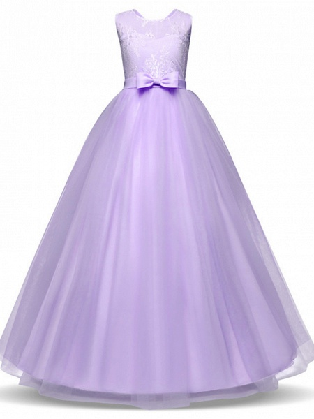 Princess Long Length Party / Birthday / Pageant Flower Girl Dresses - Lace / Tulle Sleeveless Jewel Neck With Lace / Bow(S)_12