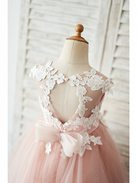 Ball Gown Knee Length Wedding / Birthday Flower Girl Dresses - Satin / Tulle Sleeveless Jewel Neck With Bow(S) / Appliques_4