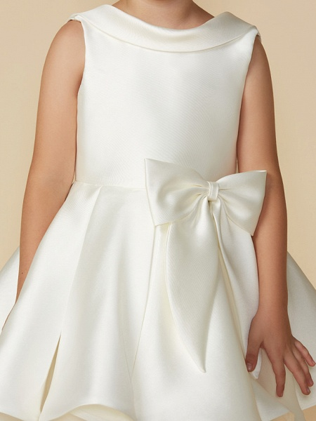 Princess Above Knee Wedding / First Communion Satin Sleeveless Jewel Neck With Bows_4