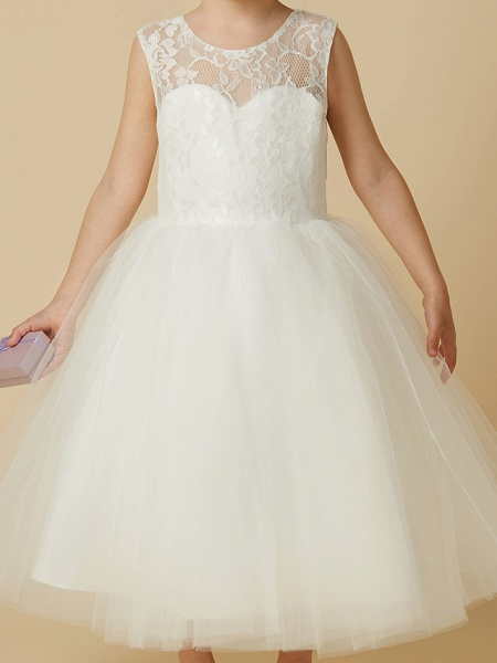 Princess Tea Length Wedding / First Communion Flower Girl Dresses - Lace / Tulle Sleeveless Jewel Neck With Lace_6