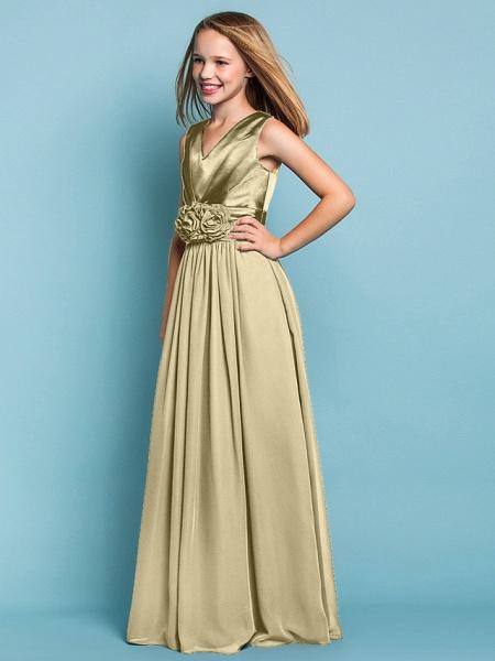 Sheath / Column V Neck Floor Length Chiffon Junior Bridesmaid Dress With Flower / Spring / Summer / Fall / Apple / Hourglass_14