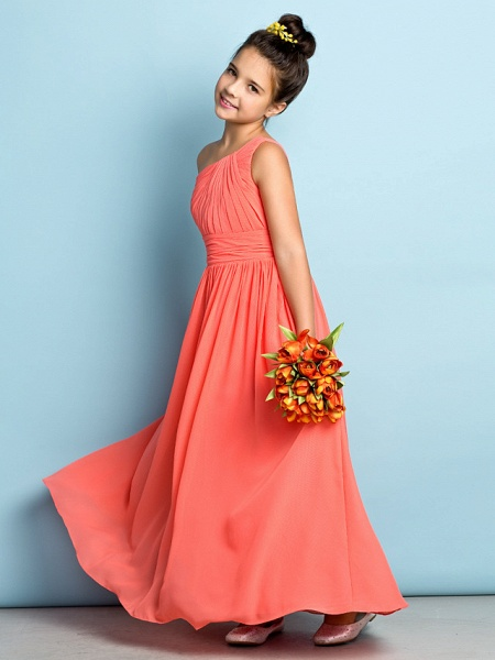 A-Line One Shoulder Ankle Length Chiffon Junior Bridesmaid Dress With Side Draping / Natural / Mini Me_1