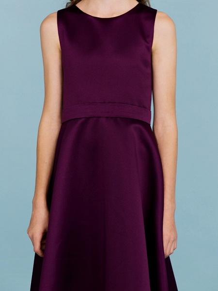 A-Line Jewel Neck Floor Length Satin Junior Bridesmaid Dress With Sash / Ribbon / Wedding Party / Open Back_7