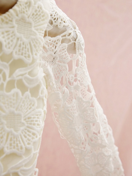 Sheath / Column Knee Length Holiday Flower Girl Dresses - Lace Long Sleeve Jewel Neck With Lace_5