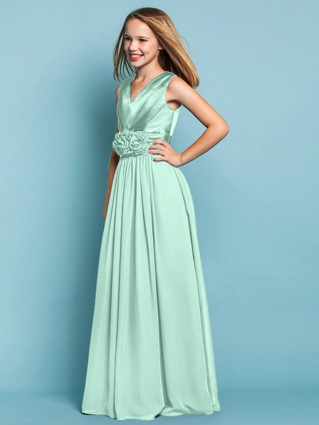 Sheath / Column V Neck Floor Length Chiffon Junior Bridesmaid Dress With Flower / Spring / Summer / Fall / Apple / Hourglass_38