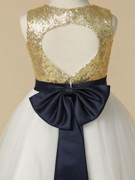 A-Line Ankle Length Pageant Flower Girl Dresses - Tulle / Sequined Sleeveless Jewel Neck With Sash / Ribbon / Bow(S)_5