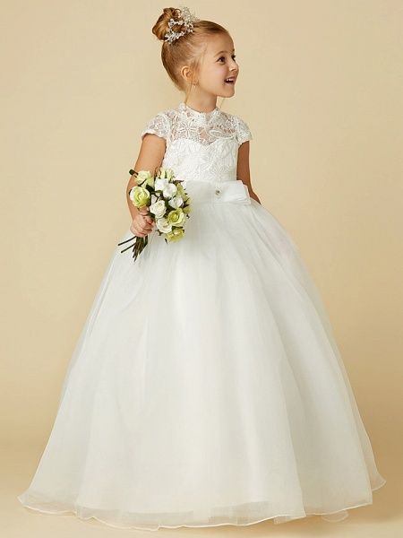 Ball Gown Floor Length Wedding / First Communion Flower Girl Dresses - Lace / Tulle Short Sleeve High Neck With Lace / Sash / Ribbon / Bow(S)_3