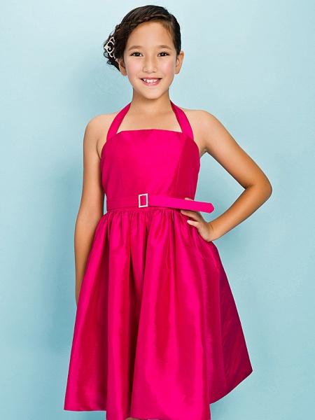 Princess / Ball Gown Halter Neck Knee Length Taffeta Junior Bridesmaid Dress With Sash / Ribbon / Draping / Crystal Brooch / Spring / Summer / Fall / Apple / Hourglass_6