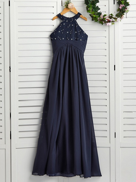 A-Line Jewel Neck Maxi Chiffon Junior Bridesmaid Dress With Pearls / Wedding Party_4