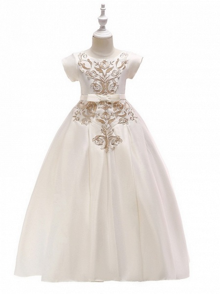 A-Line Round Floor Length Cotton Junior Bridesmaid Dress With Bow(S) / Appliques_8