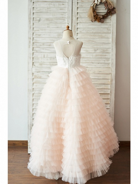 Ball Gown Floor Length Wedding / Birthday Flower Girl Dresses - Lace / Tulle Sleeveless Jewel Neck With Lace / Buttons_2