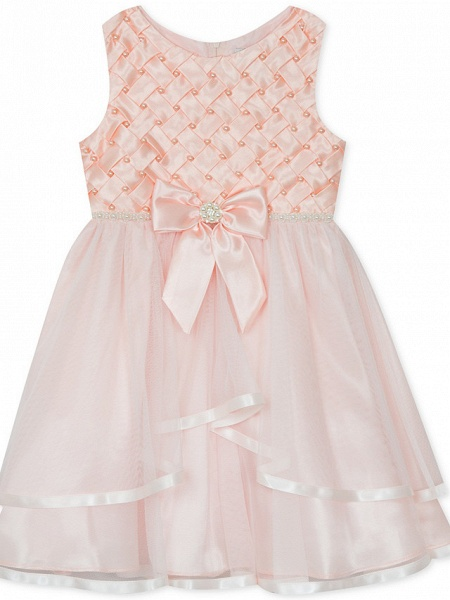 A-Line Knee Length Wedding / Party Flower Girl Dresses - Satin / Tulle Sleeveless Jewel Neck With Bow(S) / Appliques_5