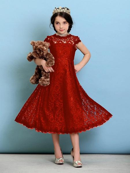 Princess / A-Line Jewel Neck Tea Length Lace Junior Bridesmaid Dress With Pleats / Natural_15