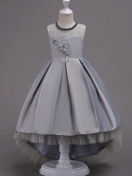 A-Line Asymmetrical Pageant Flower Girl Dresses - Satin Sleeveless Jewel Neck With Lace / Bow(S) / Beading_3