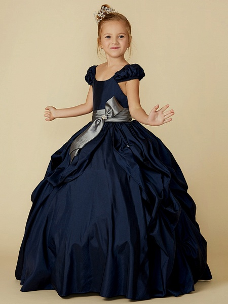 Ball Gown Floor Length Pageant Flower Girl Dresses - Taffeta Short Sleeve Scoop Neck With Belt / Bow(S)_3