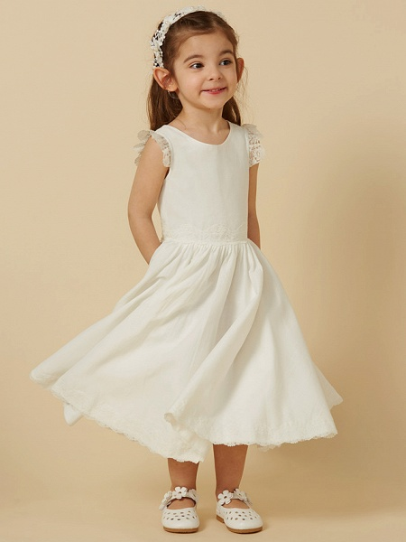 Princess Knee Length Wedding / First Communion Flower Girl Dresses - Lace / Cotton Sleeveless Scoop Neck With Pleats_4