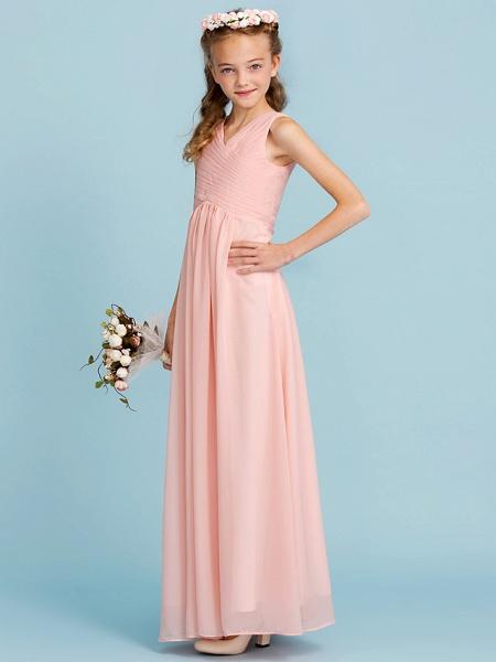 Sheath / Column V Neck Floor Length Chiffon Junior Bridesmaid Dress With Criss Cross / Pleats / Wedding Party / Open Back_5