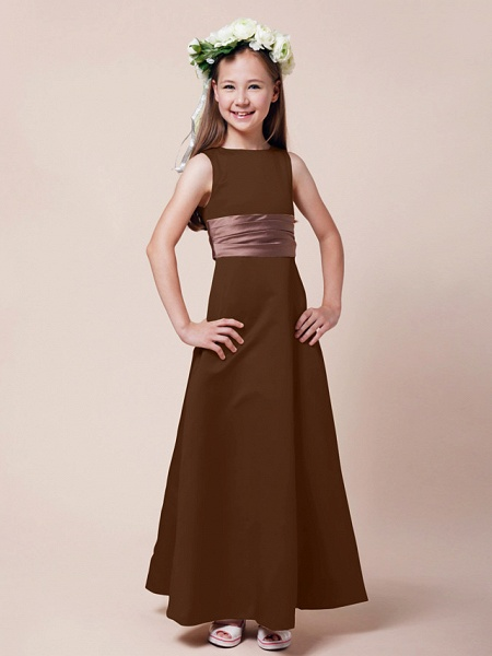 Princess / A-Line Bateau Neck Floor Length Satin Junior Bridesmaid Dress With Sash / Ribbon / Ruched / Spring / Summer / Fall / Winter / Apple_20